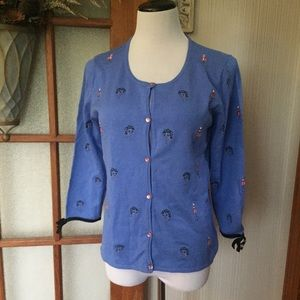 Embroidered Glamour Girl Button Front Cardigan